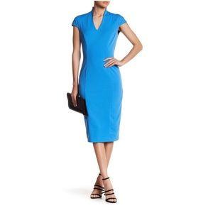 Alexia Admor BlueV-neck Midi Cocktail Dress